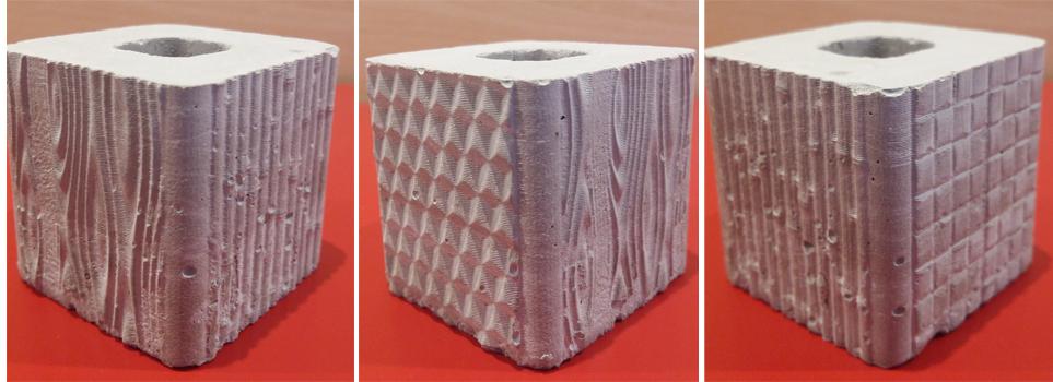 Textures sur cube béton